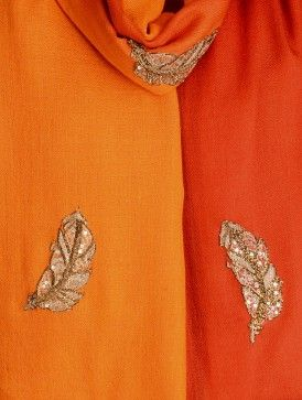 Orange-Red Gota Patti Cashmere Wool Stole