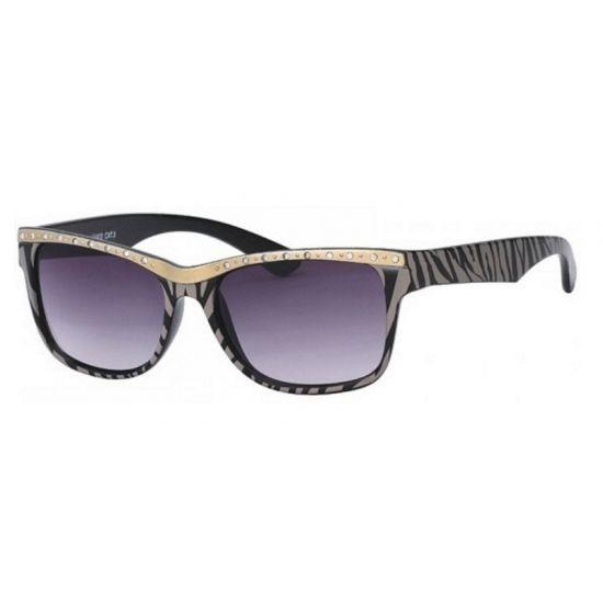 Zonnebril met tijger print  Dames zonnebril tijgerprint. Zonnebril met grijs/zwarte tijgerstrepen strassteentjes en grijze glazen. 400UV bescherming.  EUR 5.95  Meer informatie