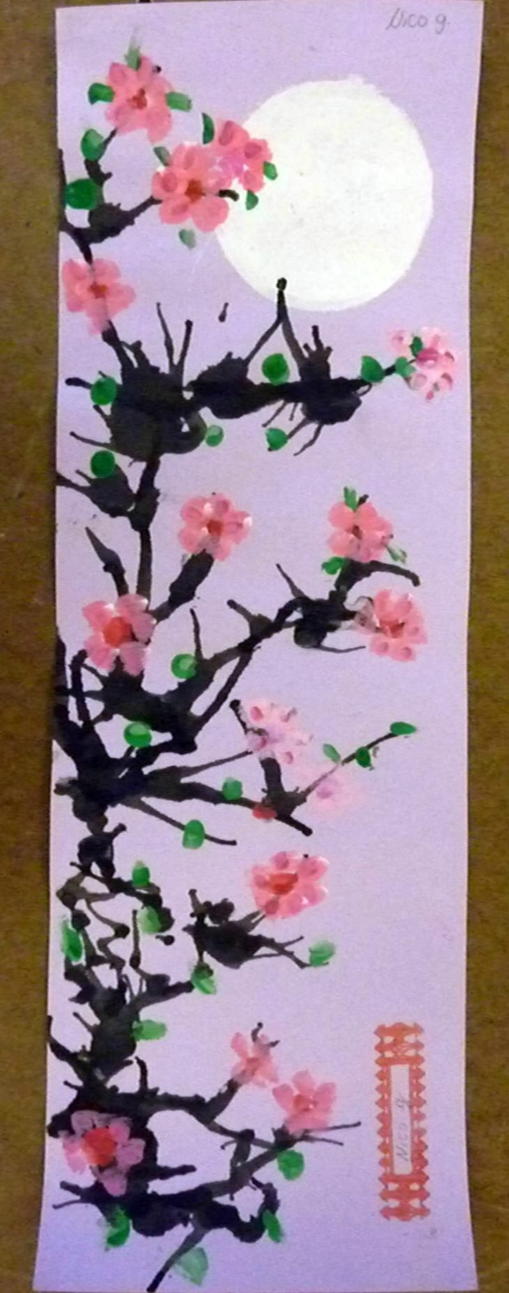 I saw this lesson on here..Thanks to a faithful attempt blogspot! All of my students' cherry blossom branches are so lovely.