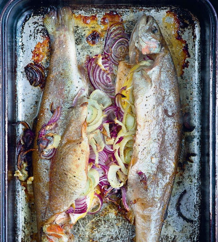 Roast trout with fennel & lemon recipe from A Year at Otter Farm by Mark Diacono | Cooked.com