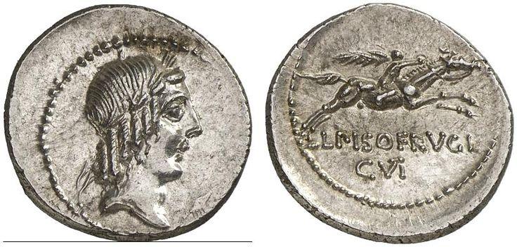 AR Denarius. Roman Coin, Roman Republic, Moneyers, L.Calpurnius Piso Frugi. 90 BC. 3,67g. Syd. 663.  Good EF. Starting price 2011: 400 USD. Unsold.