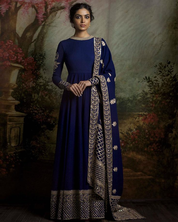 Navy blue light anarkali with heavy border and embroidered sleeve and cuff - Sabyasachi 2016