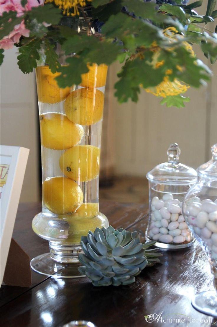 Wedding Favours Display Vintage Jars, Succulents and Lemons