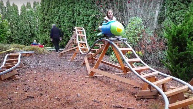 Grandad Builds Amazing Roller Coaster In Backyard (Video) - http://eradaily.com/grandad-builds-amazing-roller-coaster-backyard-video/
