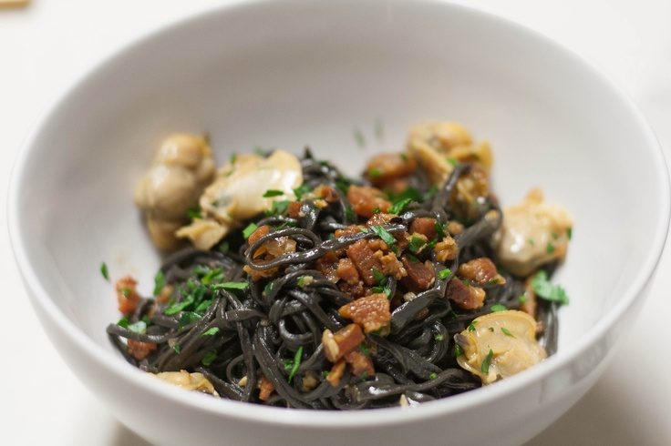 Squid ink pasta with Little Neck clams and Pancetta: Squid Ink Pasta