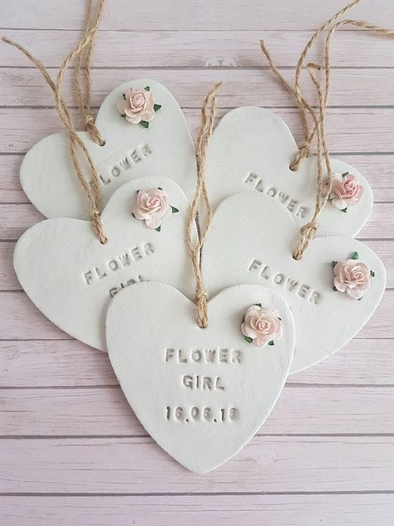 Bride To Be White Clay Tag Heart Gift Favour