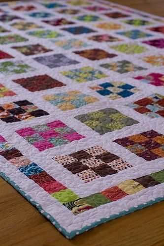 First quilt pattern I learned in South Carolina! I have lots of old classic patterns given to me there! > scrappy 9-patch a day quilt along.