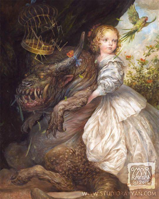 Allegory print child little girl monster pet by StudioRayyan