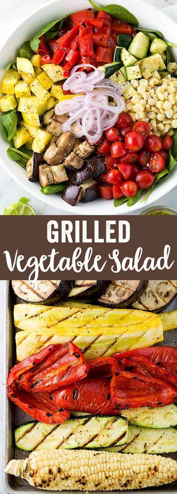 Grilled vegetable salad recipe tossed in a tangy citrus dressing. Fresh summer veggies cooked and roasted on the barbecue. A vegan-friendly combination of colors and nutrition in one healthy side dish. via @foodiegavin
