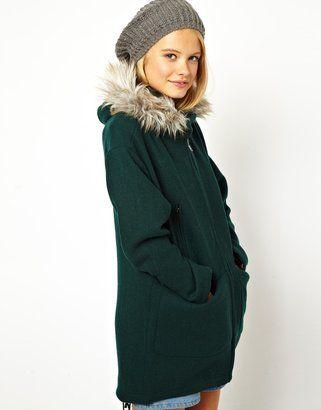 Asos Parka habillée avec capuche bordée de fausse fourrure - ShopStyle