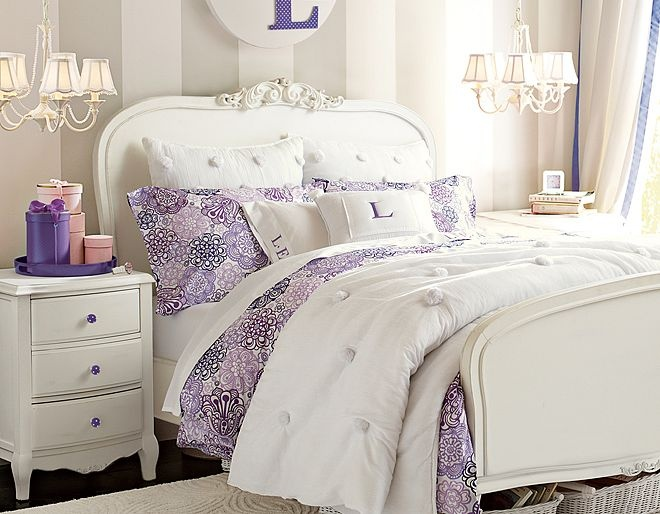 I love the PBteen Lilac Flower Burst Bedroom on pbteen.com. This bed is too cute!