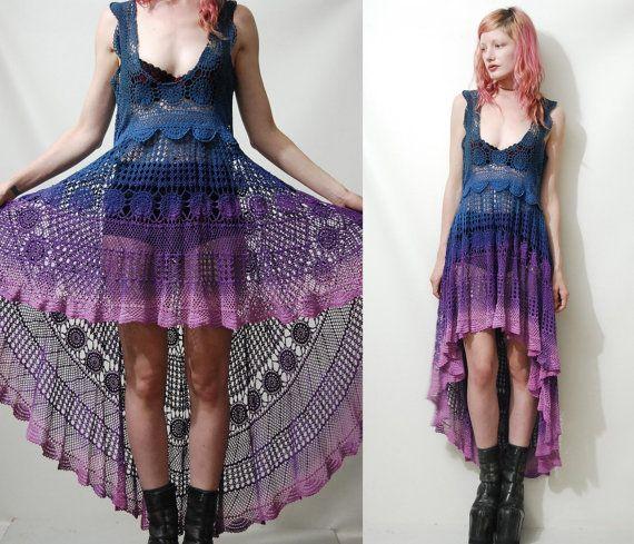 Crochet Dress VINTAGE LACE Purple Blue OMBRE Fishtail Sheer Grunge Gypsy vtg Bohemian Hippie ooak Handmade xs s m