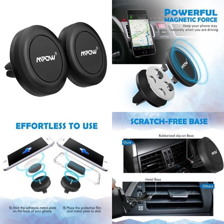 2 PACK Car Magnetic Air Vent Phone Holder w/ Metal Plates Universal Magnet Mount #Mpow