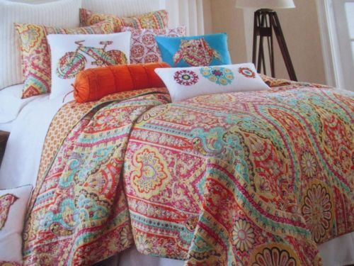 Casablanca Hot Pink Orange Yellow Turquoise Aqua Brown Full Queen Quilt Nik College Bedding