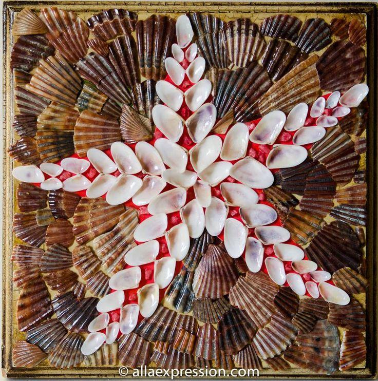 Sea star 8 x 8 mixed media seashell mosaic and alla for Seashell mosaic art
