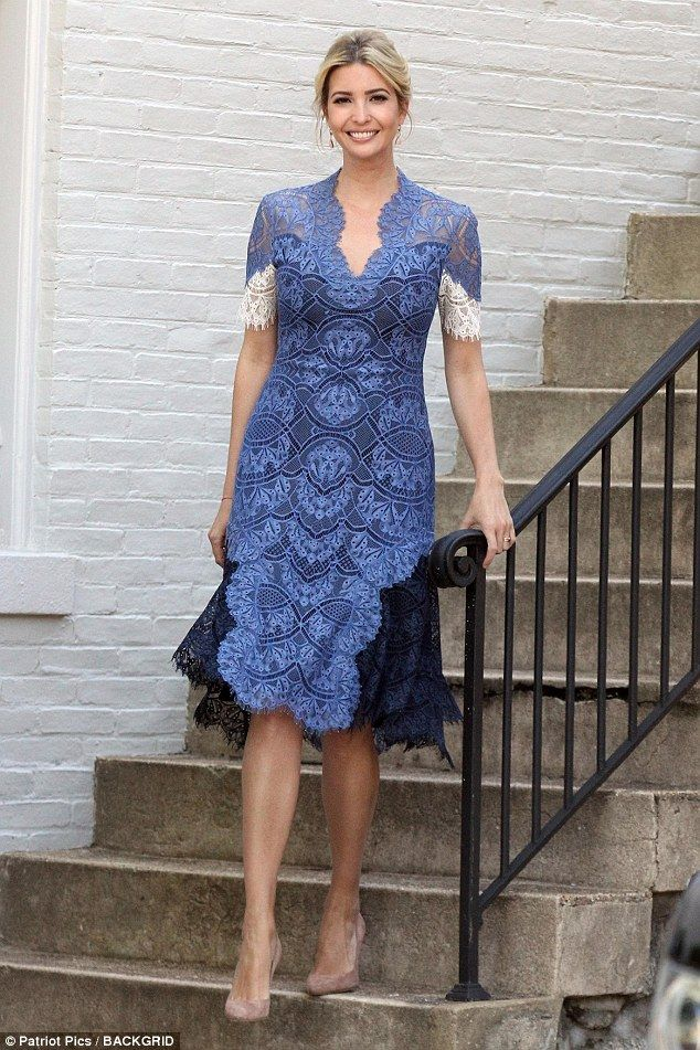 Style queen: Ivanka Trump looked incredibly elegant as she made her way down the front steps.  Blue, black, ivory lace dress, updo hair, whatIvankaTrumpiswearingtoday, July 25 2017.
