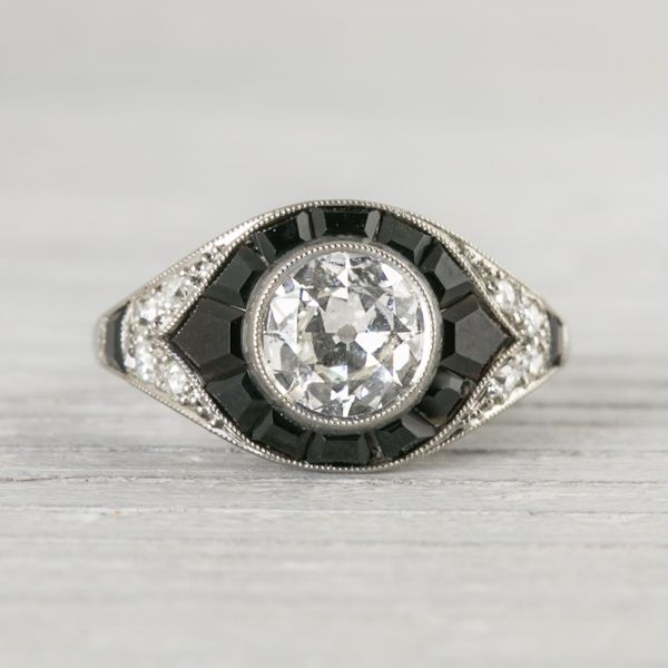 .60 Carat Vintage Art Deco Mauboussin Onyx & Diamond Engagement Ring | New York Vintage & Antique Engagement Rings and Jewelry – Erstwhile Jewelry Co NY