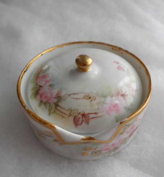 ANTIQUE ROSENTHAL TRINKET Dish  Circa 1902  Gold Trim  by BYGONERA, $50.00