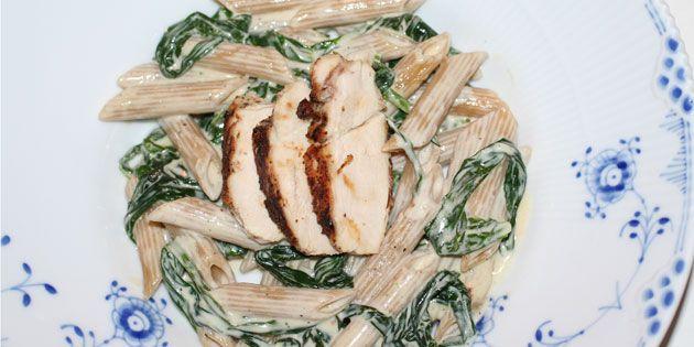Pasta med kylling og ramsløg