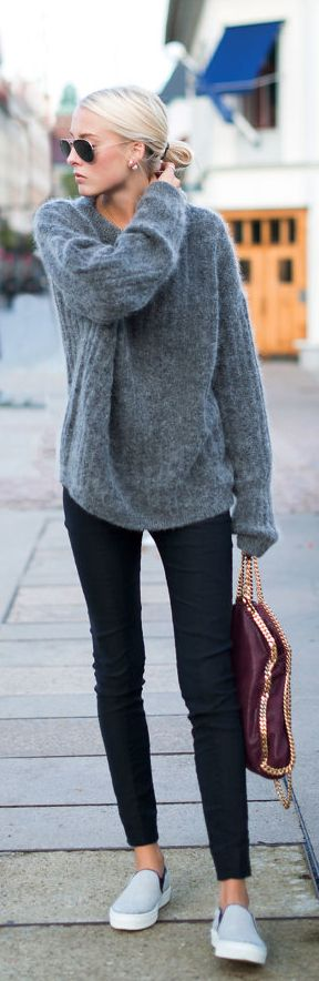 Slip-On Sneaker Fashion. Ellen Claesson is wearing a grey top and black trousers from Acne Studios, light grey slip-ons from Céline and a bag from Stella McCartney