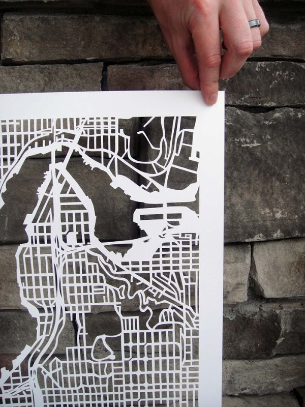 what patience beautiful hand cut map of seattle