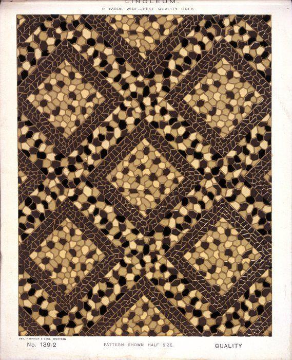George Harrison & Co (Bradford) :Linoleum, 2 yards wide - best quality only. [Diagonal geometric mosaic pattern]. No. 139/2. Pattern shown half size. [1880s?]