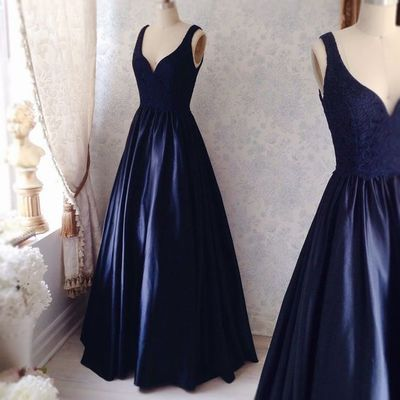 Navy Simple Prom Dresses, Satin Prom Dress, Sexy V neck Prom Gown, Elegant Evening Dress