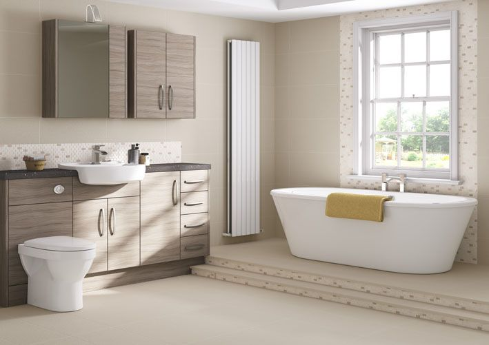 Neveah Driftwood furniture stands out from the crowd, with a weathered tone to the doors that brings the natural wood look up to date #bathroomstorage #bathroomfurniture #naturalwood