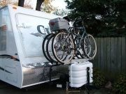 options for transporting bikes on 5th wheels, travel trailers, and tent trailers.