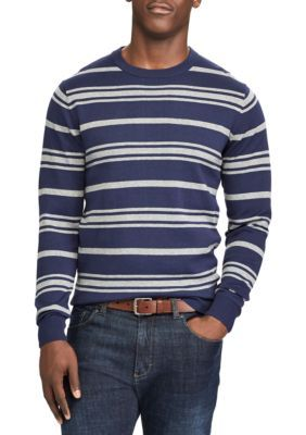 Chaps Men's Striped Cotton Crew Neck Sweater - Newport Navy - 2Xl