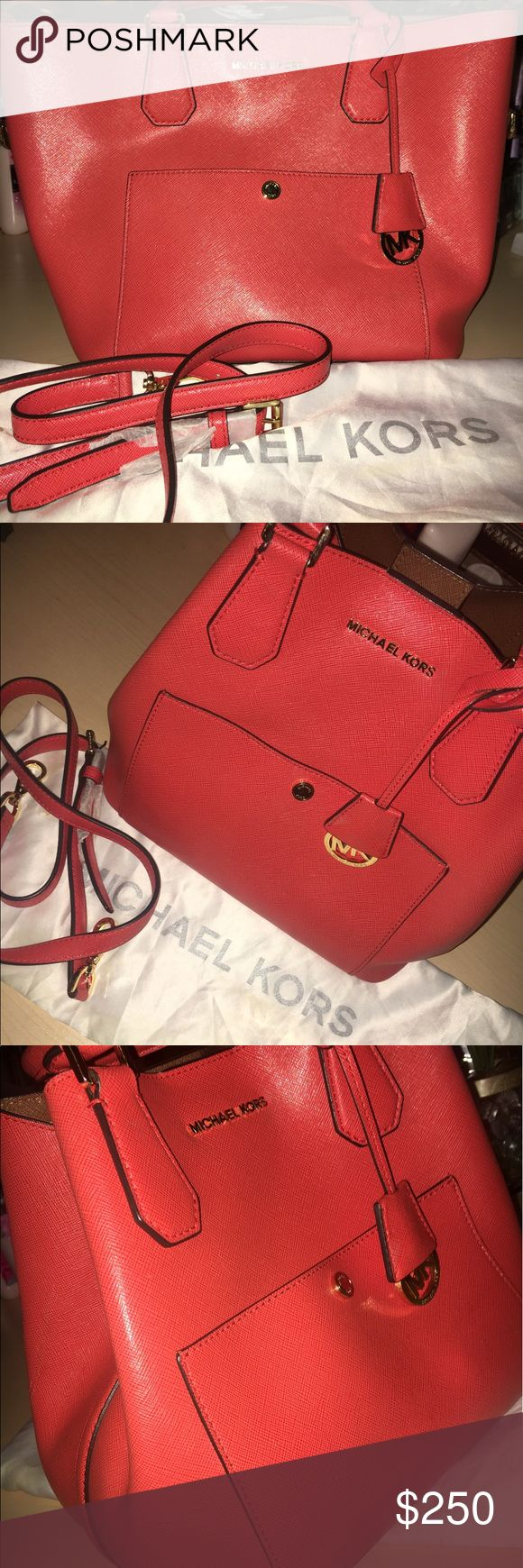 Michael Kors Greenwich Mandarin Tote 🎉🎉Only used for about 2 months. Shoulder strap and dust bag included. It has a few very small ink pen stains on the inside. No scratches on the gold medal parts. NO TRADES!! MUST SELL. ‼️ Michael Kors Bags Totes