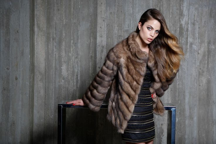 Russian Tortora sable fur jacket for a casual stylish look.