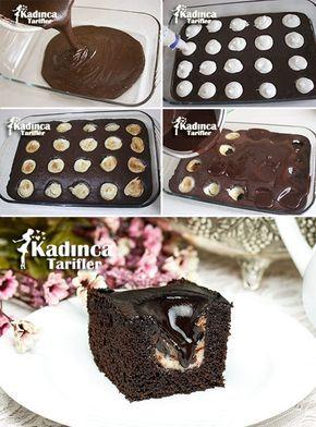 Muhallebi Dolgulu Çikolatalı Kek Tarifi