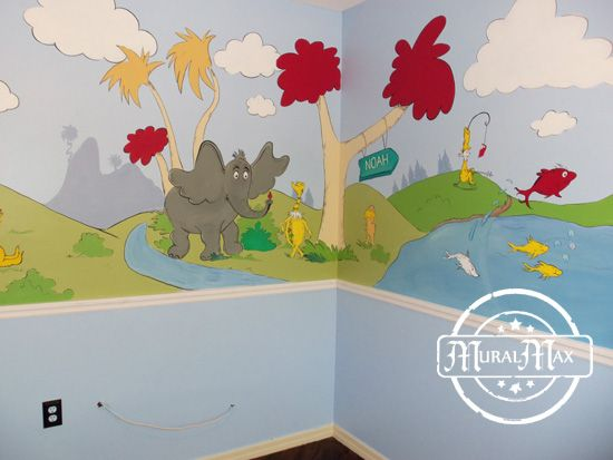 17 best images about for kids playroom murals on for Dr seuss nursery mural
