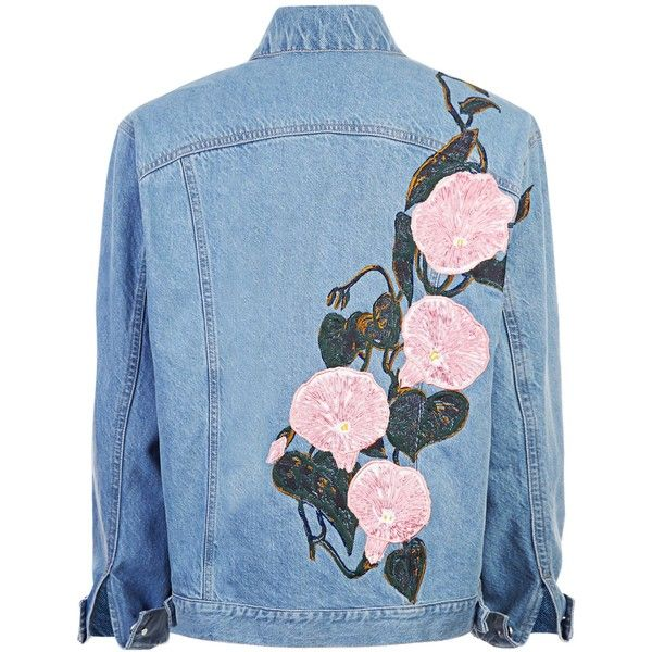 """""""WEEDY"""" SILK RIBBON EMBROIDERD DENIM JACKET (7,820 ILS) ❤ liked on Polyvore featuring outerwear, jackets, denim jacket, jean jacket, blue jackets, embroidered denim jacket and silk jacket"""
