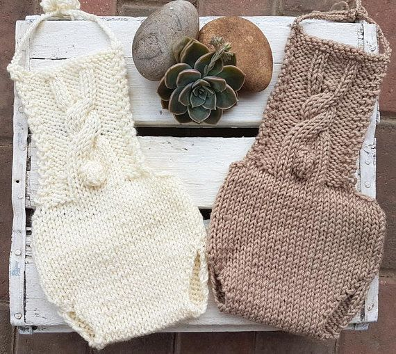 Baby Easter Bunny Romper and Bonnet set in brown Made to order- choose your favourite colour! Newborn Size  This darling little romper has a little bunny cable on the bib. Neckties ensure that the romper will fit any size newborn baby A matching bonnet completes the set This would