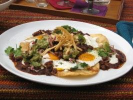 Ranch-Style Eggs with Chorizo and Tomato-Red Chile Sauce : Recipes : Cooking Channel (Bobby Flay)