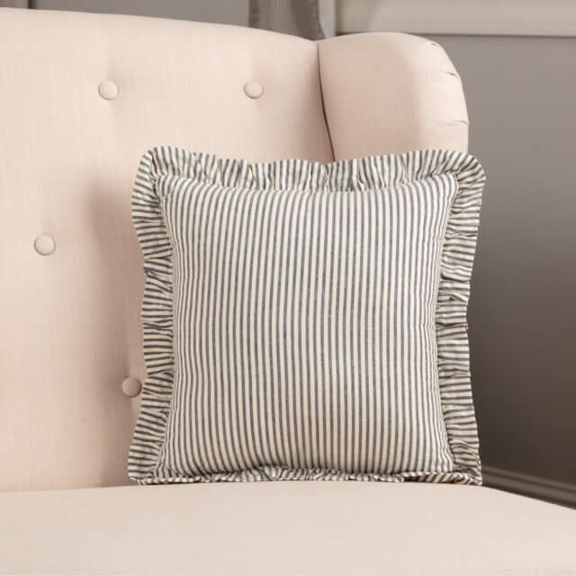 Hatteras Seersucker Blue Ticking Stripe Fabric Pillow 12x12 In 2020 Ticking Stripe Striped Fabrics Pillows