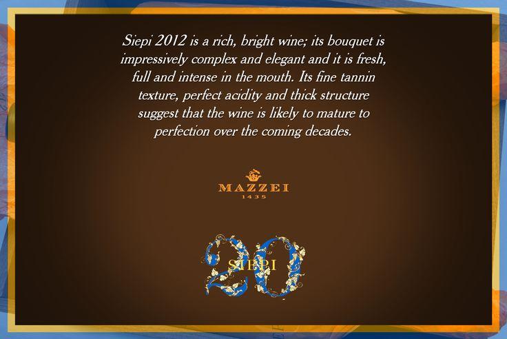 Siepi 2012 si presenta ricco di luce; al naso impressiona per complessità e l'eleganza, ed in bocca è fresco, avvolgente, intenso. La tessitura fine dei tannini, la perfetta acidità, e lo spesso della struttura fanno presagire una grande evoluzione in bottiglia nei decenni a venire. #Siepi20 @marchesimazzei #mazzei #fonterutoli  #tuscany #wine