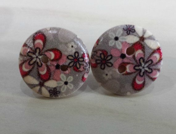 99p Button earrings Grey and red flowers post by KelwayCraftsYorkshir