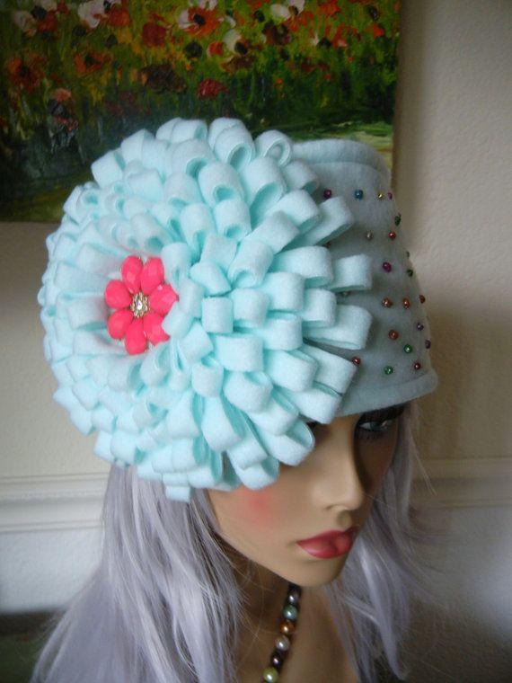 Fleece Headband Felted Flower Ski Cap Ear Warmers door SewManyPetals