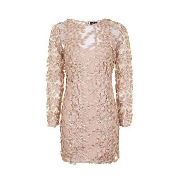 TopShop Petite Leaf Applique Mini Dress (5,530 PHP) ❤ liked on Polyvore featuring dresses, nude, party dresses, petite party dresses, long-sleeve mini dress, nude dress and pink long sleeve dress