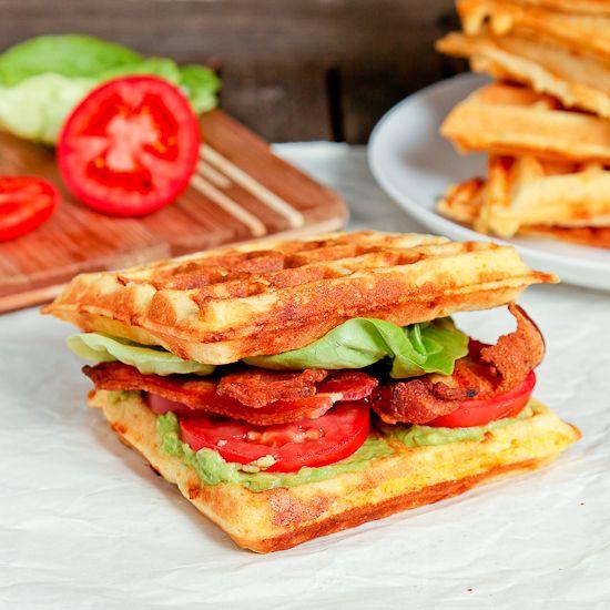 Cheddar cornmeal waffle BLTAs | Pinterest | Bacon, Blt sandwich and ...