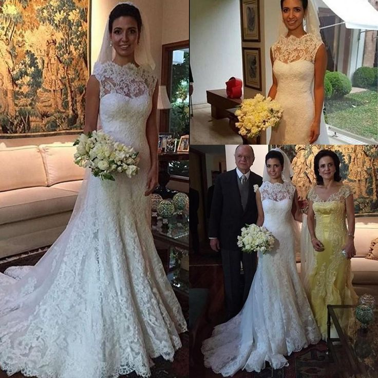 Trendy  Full Lace Wedding Dresses Vestidos De Noiva Sheer Bateau Neck Sleeveless Mermaid Elegant Arabic Long