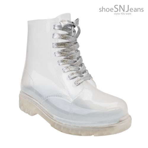 New-Women-Clear-Jelly-Rain-Boots-Lace-Up-Low-Ankle-Flat-Rubber-Wellies-Shoes