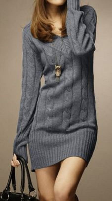 Sweater Love! Grey Cozy Cable Knit Vintage V-Neck Long Sleeve Solid Color Sweater For Women Need. -K