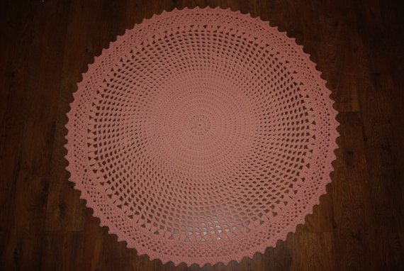 Crochet doily round rug 51''130 cmMade to by AnuszkaDesign on Etsy, $125.00