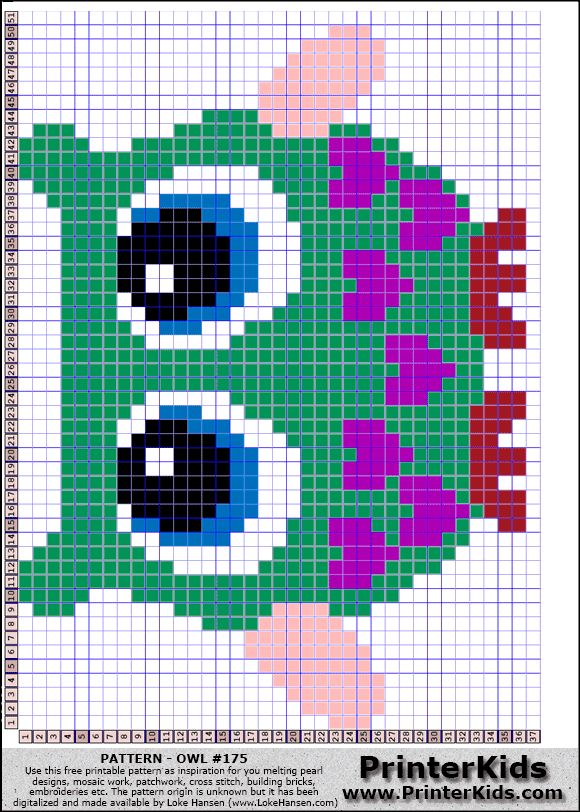 Owl perler bead pattern- 1 bead = 1 Cross Stitch