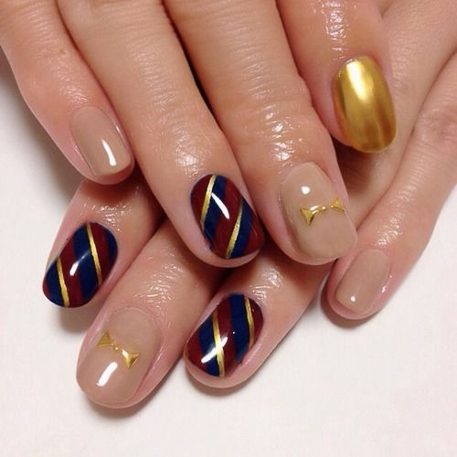 Regimental stripes nail art