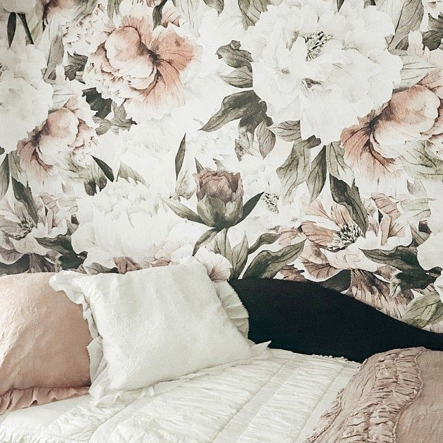 Floral Wallpaper Neutral Flowers Self Adhesive Fabric Wallpaper Removable Repositionable Reusable Easy Peel Stick R0016 Floral Wallpaper Wall Murals Floral Wall
